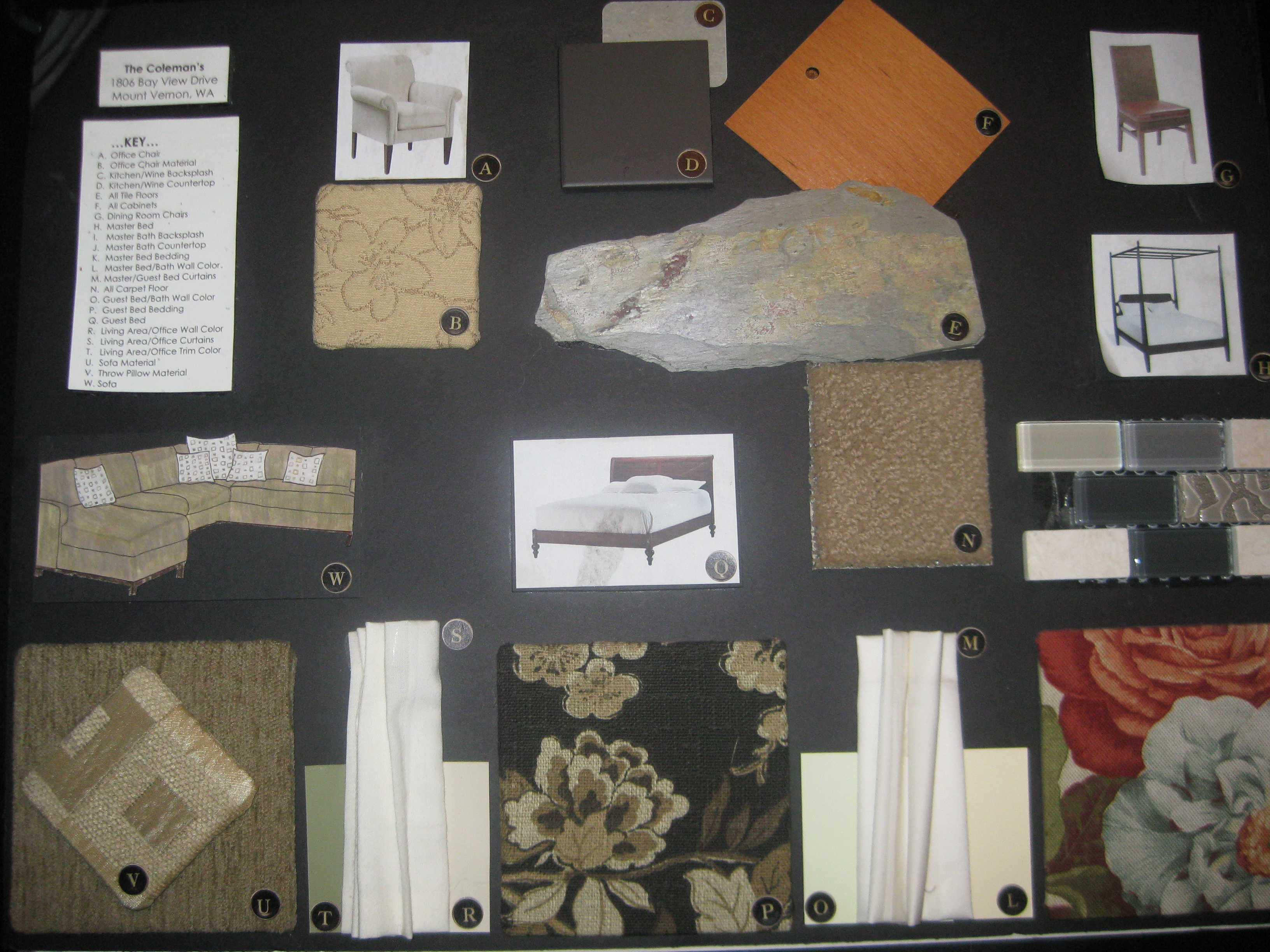 Material Board for Furniture Plan