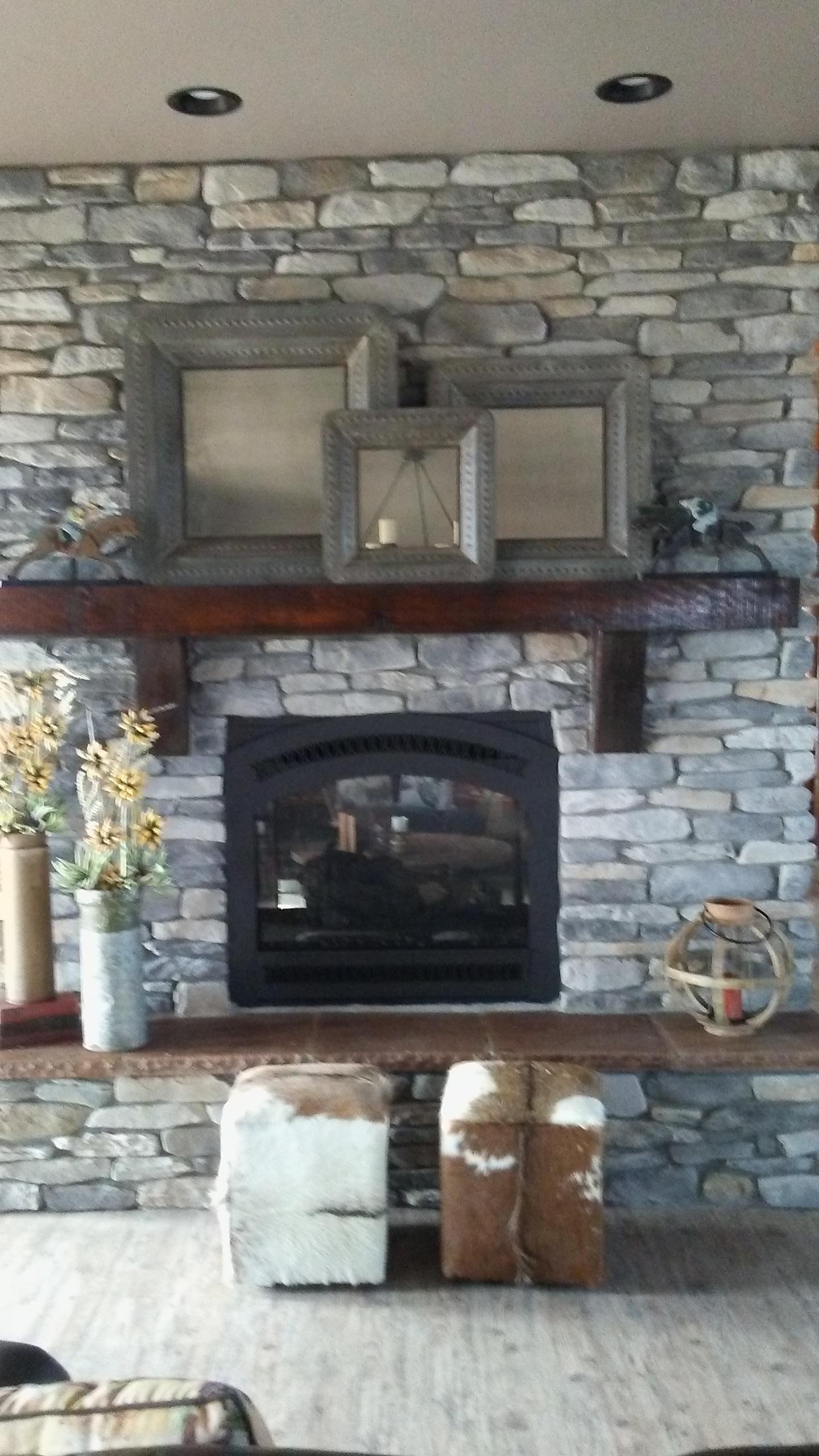 Two Sided Custom Rock Fireplace