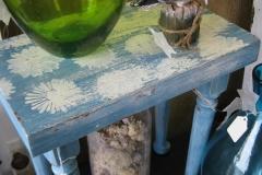 aqua floral stool