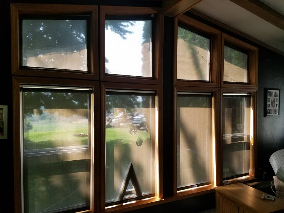 Fixed Angled Shades with Roller Shades